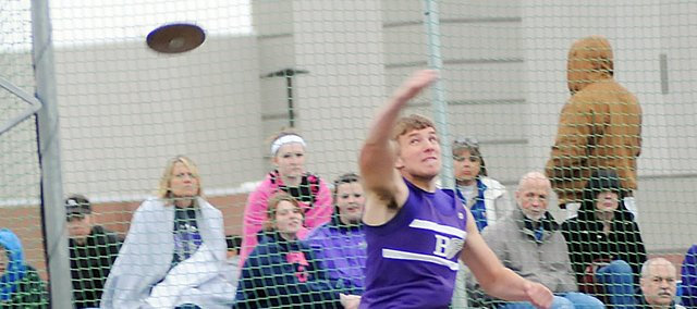 Baldwin High School sophomore Dayton Valentine won the shot put last week at Eudora and Monday at Spring Hill.