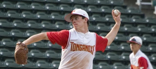 Tonganoxie High senior starting pitcher Jeremy Carlisle throws Friday against Perry-Lecompton in Kansas City, Kan. Carlisle struck out 12 batters and threw all seven innings for THS in an 8-1 victory at CommunityAmerica Ballpark, site of the Butch Foster Memorial Baseball Classic.