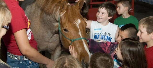 Tonganoxie FFA member Tayler Miles shows one of her horses to Tonganoxie Elementary School students as part of FFA Day at the Farm. Third-graders ventured out to the Leavenworth County Fairgrounds for the annual event Friday. Look for a story in the May 4 edition of The Mirror.