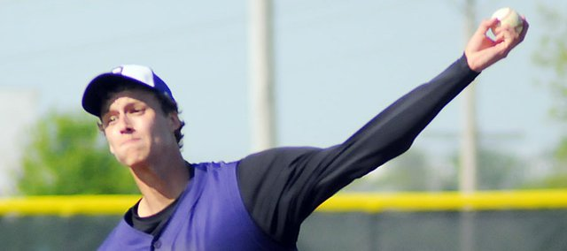 Baldwin High School senior Justin Vander Tuig pitched a no-hitter Tuesday at Eudora. Vander Tuig struck out nine batters as the Bulldogs beat the Cardinals 9-1 in the first game. The Cardinals won the second contest, 9-5.