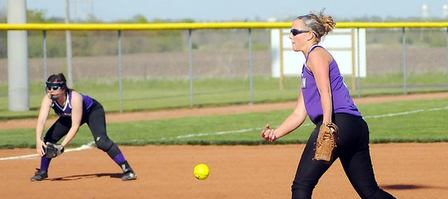 Baldwin High School junior Hayley Schwartz pitches during the first game Tuesday at Eudora. Schwartz pitched all seven innings at BHS 5-0. Baldwin also won the second game, 8-7.