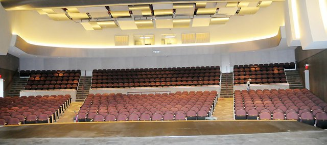 The USD 348 Performing Arts Center is set to open this spring. Here is a view from the stage of the new facility.