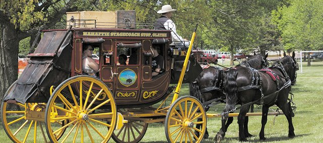 Mahaffie Stagecoach Stop out of Olathe gave stagecoach rides during the Kansas Sampler Festival at Ray Miller Park in Leavenworth. About 7,400 people attended the two-day event, which will take place in Liberal the next two years.