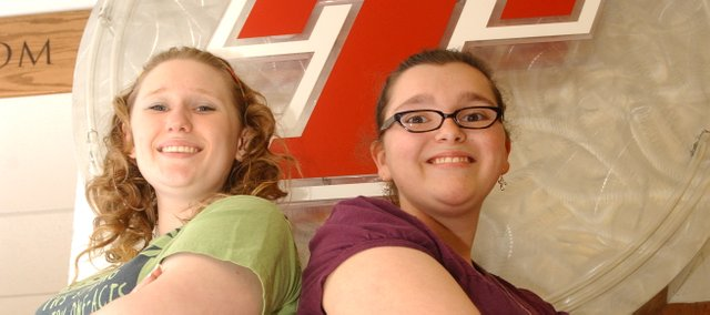 Tonganoxie High School seniors Lacie Falk, left, and Miranda Bontrager will graduate Saturday with their classmates. Falk will address the gathering as class valedictorian while Bontrager will enjoy one of her last days as the school's 2010-2011 Student Council president.