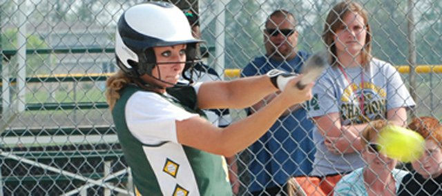 Basehor-Linwood&#39;s Hannah Tush makes solid contact for a hit during the Bobcats&#39; doubleheader sweep of Turner.