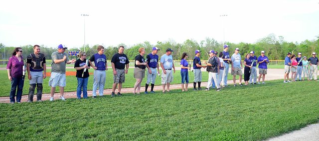 Baldwin High School's baseball team celebrated its senior night Monday at its regular season finale. The Bulldogs' seven seniors were honored with their parents. They are, from left, Nate Growcock, Jesse McDaniels, Josh Hoffman, Colton Lowe, Justin Vander Tuig, Kyle Pattrick and Connor Sublett.