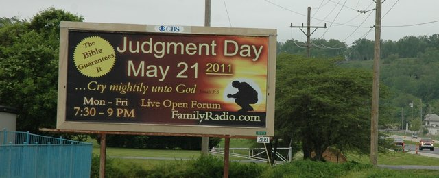 A billboard predicting the day of judgment, May 21, 2011, has been erected on Kansas Highway 32 between Bonner Springs and Edwardsville. But local pastors remain dubious.
