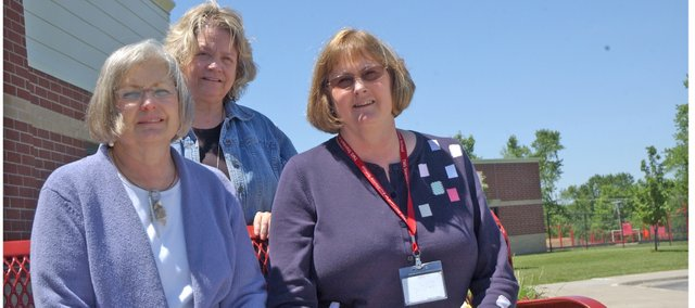 USD 464 will lose about 100 years of teaching experience with the retirement this year of fifth-grade teachers, from left, Donna Heffner, Lyn Smith and Cheta Mark.