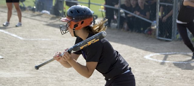 McLouth High junior Kendra Leach looks to lay down a bunt in the first inning of a Senior Night doubleheader sweep of Valley Falls on Thursday. The Bulldogs won their first-round playoff game against Riverside on Monday at Silver Lake.