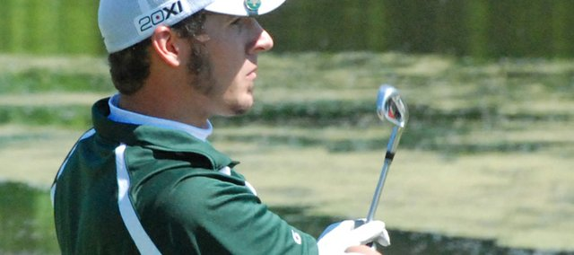 Basehor-Linwood senior Gabe Vlasic watches his tee shot soar toward the green on No. 16. Vlasic fired an 81 at Dub&#39;s Dread Golf Course and finished fifth at the Class 4A regional tournament.