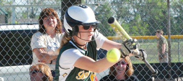 Basehor-Linwood's Cortney Rist attempts to bunt during the Bobcats' regional semifinal victory against Piper. BLHS went on to defeat Tonganoxie in the regional finals and advanced to state for the second straight year.