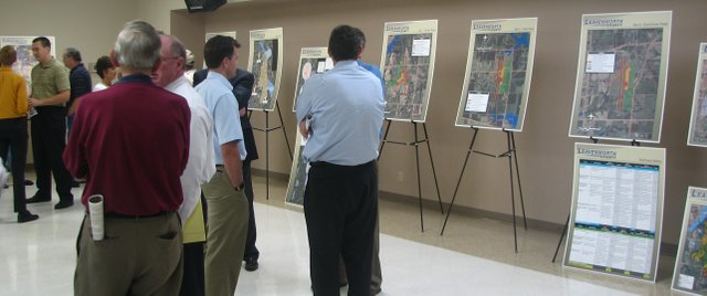 Residents and officials take a look at the results of a site selection study for a possible new Leavenworth County airport at a workshop at the Lansing Community Center on Wednesday, May 11.