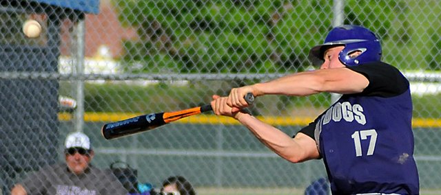 Nate Growcock, Baldwin High School senior, hits a double during his final plate appearance in the seventh inning of Monday's Class 4A regional contest. BHS lost 7-3 to Bonner Springs.