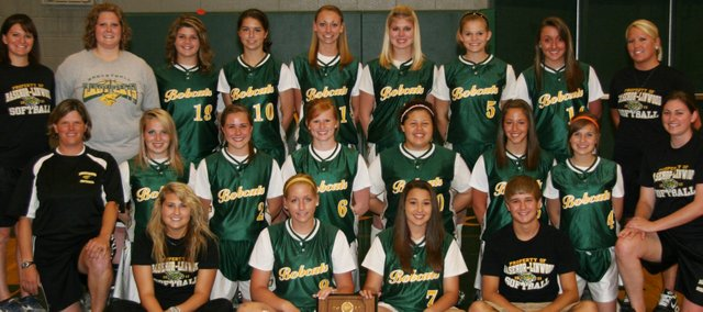 The Basehor-Linwood High School softball team poses with its 2011 Class 4A regional championship plaque. BLHS will compete this weekend in Salina and try to defend its state championship.