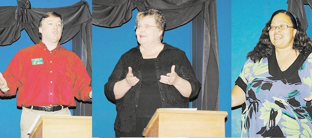 Rob Christeson, left, Jane Hanks, center,  and Rhonda Green deliver speeches during a demonstration meeting of Toastmasters International. A Bonner Springs Toastmasters group is forming and will meet at 5:30 p.m. Mondays beginning June 6 at the Roving Imp Theater and Coffee House.