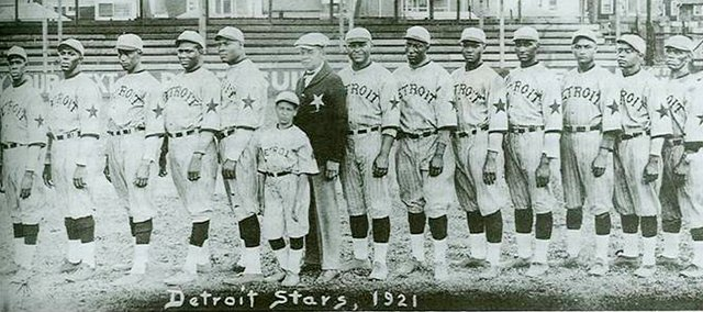 "Shawnee Town Museum's June Speakers Series will feature the presentation, ""The Big House to The Big Leagues: From Ft Leavenworth Prison to The Negro Leagues."" The 1921 Detroit Stars baseball team included former prisoner David Wingfield (fifth from right). The free talk is set for 7 p.m. Tuesday, June 14, at Shawnee Town Hall, 11600 Johnson Drive."