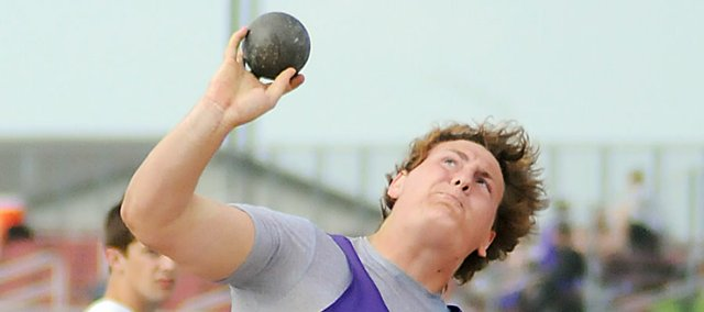 Baldwin High School senior Jesse Austin throws the shot put at the Frontier League meet in Eudora on May 12. Austin won the shot put and discus at the Class 4A regional meet in Basehor on Friday.