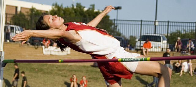 Tonganoxie High sophomore Jenny Whitledge won a Class 4A state championship in the high jump at Cessna Stadium in Wichita on Friday with a mark of 5 feet, 4 inches.