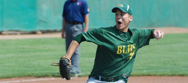 Basehor-Linwood senior Austin Stubbs unleashes a pitch during the first inning of the Bobcats' state tournament game against Baxter Springs.