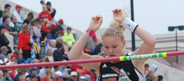 Bethany Bailey, Bonner Springs sophomore, drops over the bar at 10 feet, 6 inches, Saturday at the Class 4A track and field state championships. Bailey overcame a forearm injury to set a school record and place fifth overall.