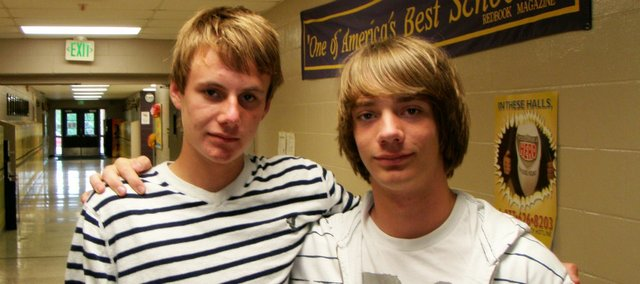 Markus Blaker, left, of Norway, and Marius Manke-Reimers, Germany, were exchange students this past school year at McLouth High School.