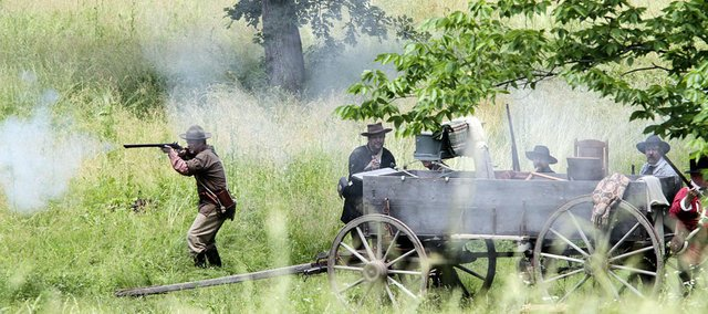 The Battle of Black Jack Battlefield will celebrate its 155th anniversary with three re-enactments of the pre-Civil War battle at 11 a.m., 2:30 p.m. and 5:30 p.m. Saturday at the battlefield site east of Baldwin City.
