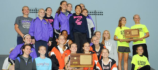 Baldwin High School's girls' track and field team won its second-straight Class 4A state championship Saturday in Wichita. The Bulldogs shared the state title and awards stand with Colby's team. El Dorado finished third as a team.