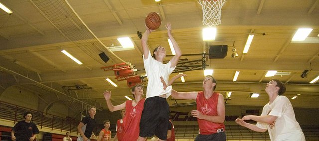 Dylan Jacobs goes up for a lay-in on June 1 at Tonganoxie High boys basketball camp. Chieftains coach Shawn Phillips said he is looking for players to emerge for THS this summer.
