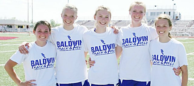 Five Baldwin Junior High School eighth-grade girls were a part of three Frontier League championships as seventh-graders and eighth-graders. They won league in volleyball, basketball and track as Bulldogs. They are, from left, Sierra Hall, Corey Valentine, Maddie Ogle, Jordan Hoffman and Emma Stewart. Their accomplishment was a first in BJHS history.