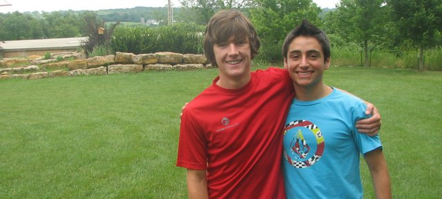 """Zach Klover, left, and Hugo Andres Navarrete Carvacho have been temporary """"brothers"""" since January, when Hugo began staying with Zach's family while participating in a foreign-exchange program. Hugo will return to his hometown in Chile on Monday."""
