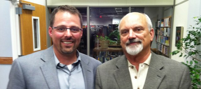 Kyle Hayden and Randy Weseman at a recent event in Lawrence. Hayden's tenure as USD 464 superintendent in Tonganoxie ends today, July 30, 2011. He will start an administrative job with Lawrence USD 497. Weseman, who is retired from a long career in Lawrence USD 497, including superintendent from 2000-09, starts as interim superintendent Friday, July 1, 2011, in Tonganoxie. He will be superintendent for one year.