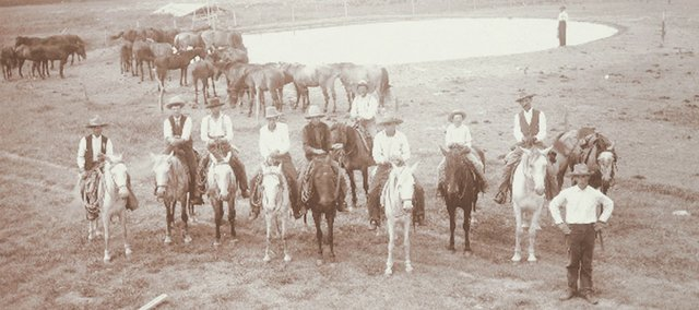 C. E. Doyle and cowboys on the Doyle ranch near Englewood.