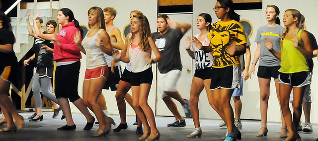 "Broadway at Baker campers rehearse a dance routine Tuesday in Rice Auditorium as they prepare to perform the musical ""Anything Goes."""
