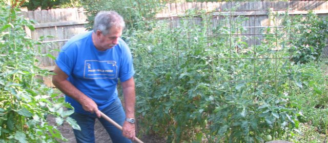 Basehor resident Mike Rollwagen works in his garden, where he grows tomatoes and cucumbers. Rollwagen, a member of Basehor PRIDE, said he hopes to allow others to enjoy the hobby of gardening through a planned community garden at Basehor City Park.