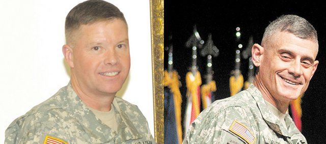 Maj. Gen. David Perkins, left, is President Barack Obama's choice to be the next commander of the Combined Arms Center and Fort Leavenworth. Perkins would replace Lt. Gen. Robert L. Caslen Jr., whom Obama has tapped for a new post in postwar Iraq.
