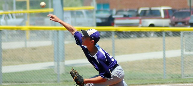Baldwin High School sophomore Ben Growcock throws a pitch during the third inning of Friday's game at Wellsville. The summer league tournament was held in Baldwin City last weekend and the Baldwin 19-and-under team finished fourth.