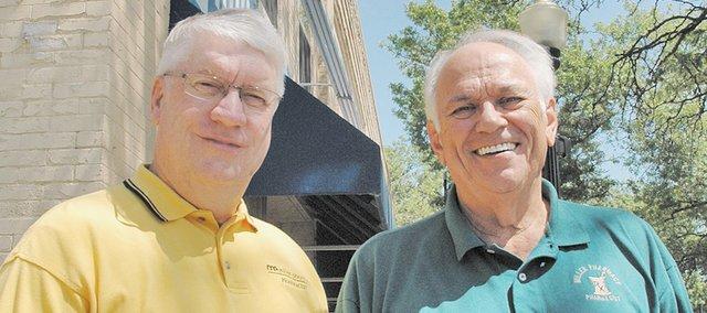 Larry Courtney (left) and Roger Miller officially will sell their business, Miller Pharmacy, to DeGoler Pharmacy of Kansas City, Kan., on Aug. 15. The Miller Pharmacy sign has graced downtown Bonner Springs for 47 years.