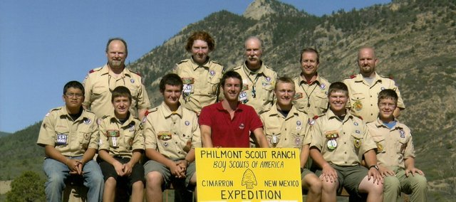 Basehor Boy Scout Troop 169 members recently hiked roughly 70 miles through the Philmont Scout Ranch in New Mexico. Pictured, from left, Andrez Umbenhower, Jefferson Storms, Colin Riley, Philmont Ranger Andrew Ryan (in red), Skylar Ross, Trevor Hickman and Alexander Coleman; back row from left, Matt Ross, Spencer Brown, Bill Brown, Jeff Storms and Ron Coleman.