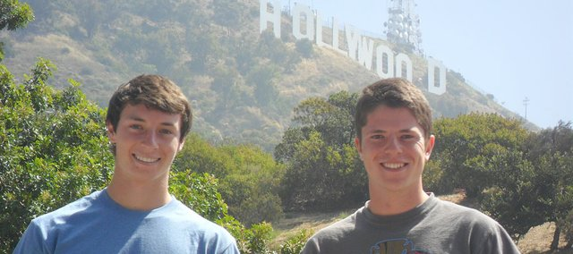 Recent Baldwin High School graduates Carson Barnes, left, and Brandon Baltzell are finishing an internship with NEi Software in the Los Angeles area. The two interns also have had the opportunity to sight see popular tourist destinations in southern California.