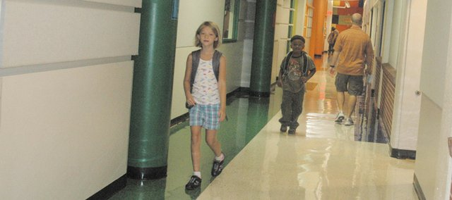 Students roam the hallways of Bonner Springs Elementary on the first day of classes in the 2011-12 academic year.