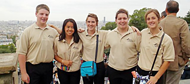 Five Baldwin High School students traveled to Europe this summer with about 250 students and teachers from Kansas. They are, from left, Brian Cooper, Cate Gwin, Carrie Deitz, Tayler Christian and Abby Clem.