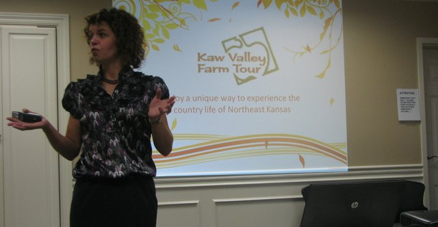 Shannan Seely, coordinator for the Kaw Valley Farm Tour, speaks at the Basehor Chamber of Commerce meeting Aug. 18 at Community National Bank in Basehor.