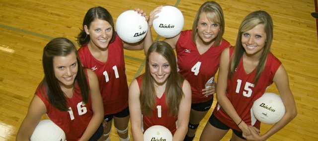 Tonganoxie High volleyball seniors, from left, Kailan Kuzmic, Haley Smith, Megan Hummelgaard, Sagan Scates and Brooklyn Kerbaugh know that their days playing volleyball at THS will soon be over and that knowledge, along with how the Chieftains' season ended a year ago, has the team motivated this season.