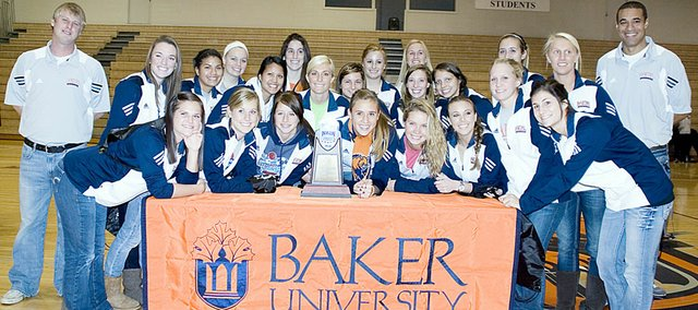 Baker University's soccer players and coaches celebrate their NAIA semifinal appearance at the Collins Center.