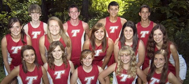 Tonganoxie High's cross country seniors, front row, from left, Megan Berry, Sarah Williams, Lindsey Truesdell, Taylor Clark, Lindsay Cox; middle row, Alyssa Miller, Parker Osborne, Makayla Leslie, Lauren Hughes, Rachel Sparks; back row, Brady Field, Patrick Rachford, Dalton Harrington and Caleb Himpel begin their 2011 season at home Thursday with a dual against Lansing.