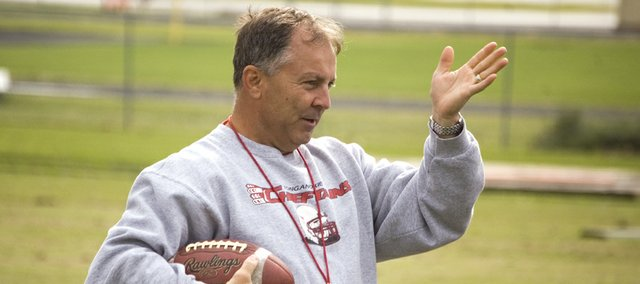 Former Tonganoxie High football coach Mark Elston, seen in this Mirror file photo, resigned from his coaching duties on Aug. 31 after 11 years at the helm.