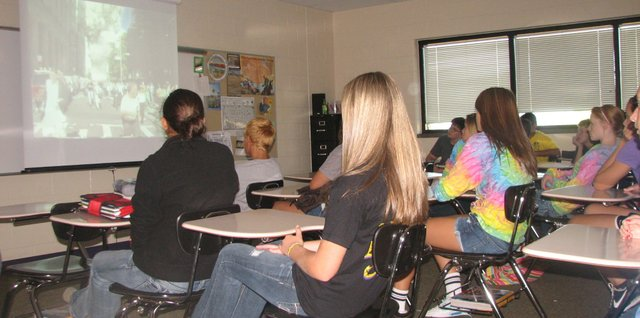 Eighth-graders in Matt Johnson's classroom at Basehor-Linwood Middle School watch news footage of the 9/11 attacks Thursday, Sept. 8.