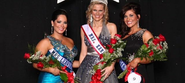 Katia Figueroa Acevedo of Basehor, Mrs. Leavenworth County and second runner-up at the Mrs. Kansas competition, is pictured with Mrs. Kansas, Bobbie Padgett of Topeka, and the first runner-up, Erica Knetter of Tonganoxie.