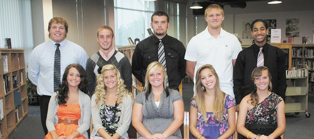 Bonner Springs High School's Homecoming is Friday, Sept. 30. Members of the senior royalty are (back row, from left) Nick Clark, Nate Mitchell, Blake Pyles, Brett Steuart and B.J. Watson; (front row, from left) Lauren Callahan, Emily Hunt, Ashton Istas, Toni Stock and Breanna Tendick.