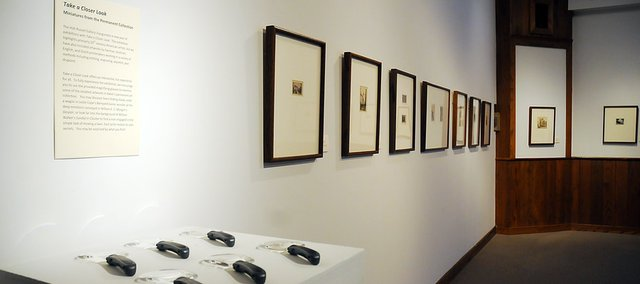 "Magnifying glasses are available at the ""Take a Closer Look: Miniatures from the Permanent Collection"" exhibit now on display at Baker's Holt Russell Gallery. The show runs through Sept. 23."